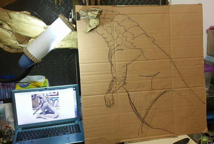 ダンボールゴジラの製作過程。